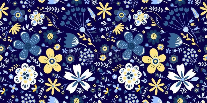 Estampado de flores que sorprende con las flores Inconsútil brillante stock de ilustración