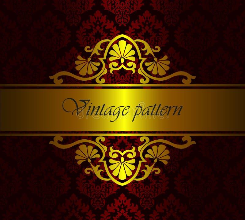 Estampado de flores real del damasco del vector como fondo Plantilla barroca rica de lujo del oro del vintage stock de ilustración