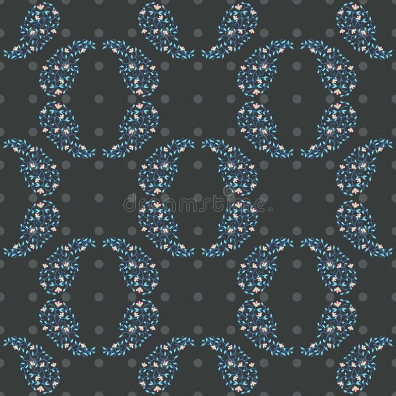 Estampado de flores redondo de los círculos de Paisley stock de ilustración