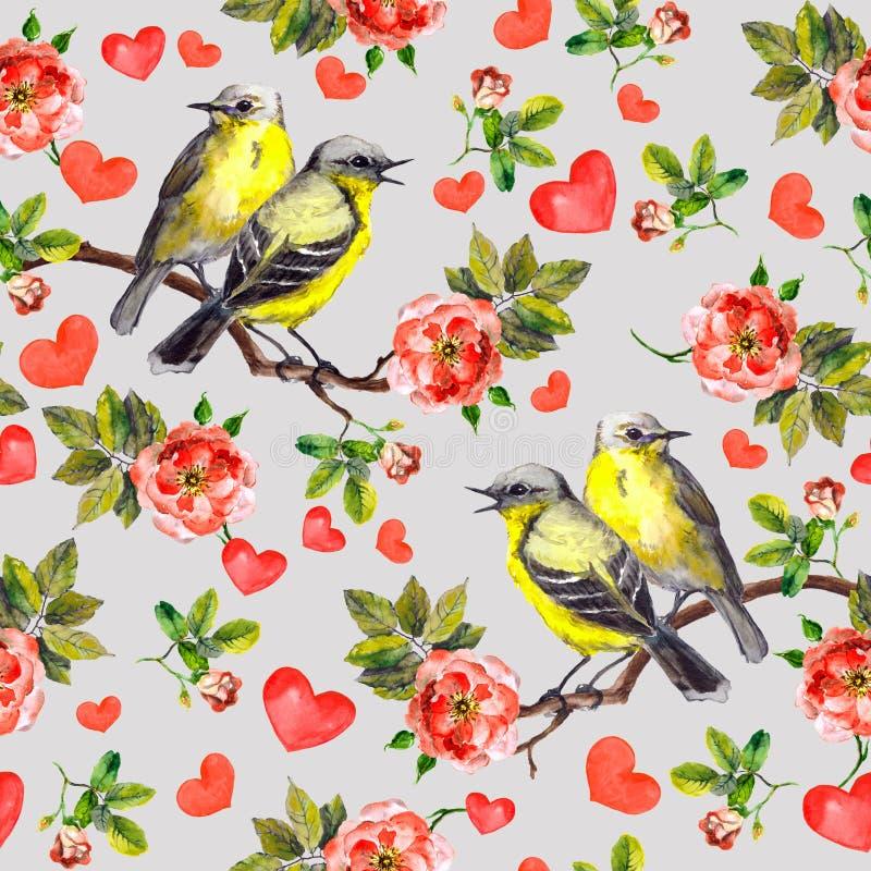 Estampado de flores repetido con las rosas de las flores, pájaros de la canción, corazones para el día de San Valentín watercolor foto de archivo libre de regalías