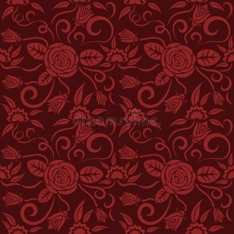 Estampado de flores rojo inconsútil, vector La textura sin fin se puede utilizar para el papel pintado, terraplenes de modelo, fo ilustración del vector