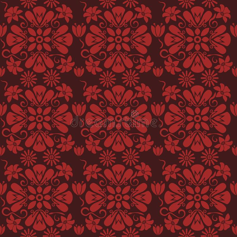 Estampado de flores rojo inconsútil, vector La textura sin fin se puede utilizar para el papel pintado, terraplenes de modelo, fo stock de ilustración