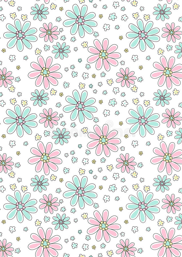 Estampado de flores rosa claro y de la aguamarina. libre illustration