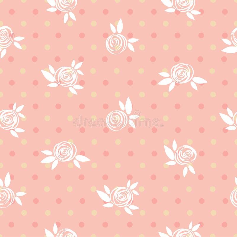 Estampado de flores, rosas y círculos rosados inconsútiles, ejemplo del vintage libre illustration