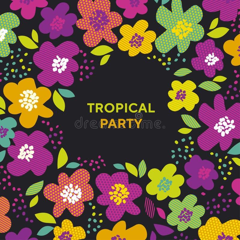 Estampado de flores tropical abstracto del color en fondo negro libre illustration