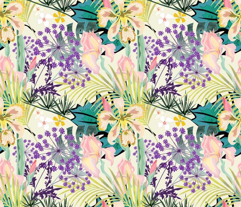 Estampado de flores tropical inconsútil Orquídeas, iris en un fondo ligero libre illustration