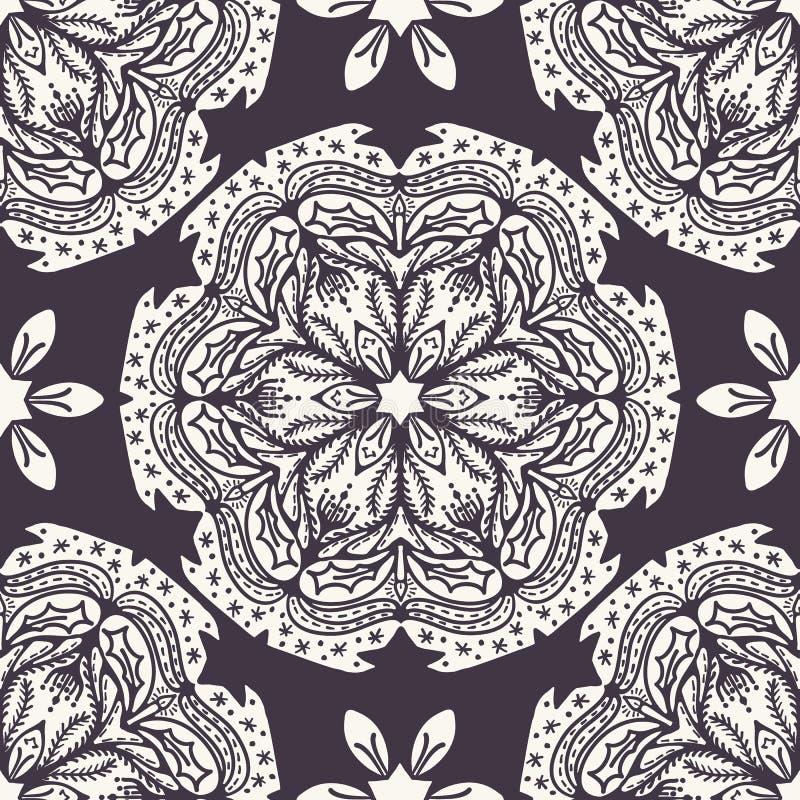 Estampado de plores abstracto exhausto de la Navidad de la mano Fondo floral de la mandala de la poinsetia estilizada Vacaciones  stock de ilustración
