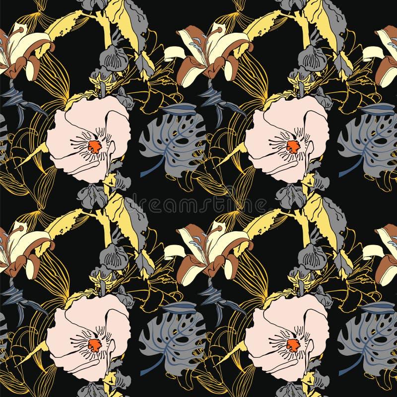 Estampado de plores artístico inconsútil original, la Florida tropical hermosa stock de ilustración