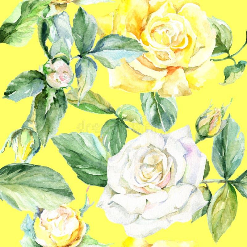 Estampado de plores color de rosa del Wildflower en un estilo de la acuarela ilustración del vector