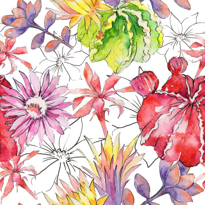Estampado de plores del cactus del Wildflower en un estilo de la acuarela ilustración del vector