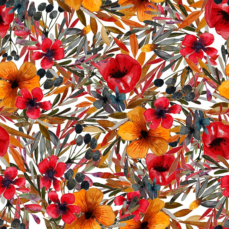 Estampado de plores del campo con las flores rojas y amarillas stock de ilustración
