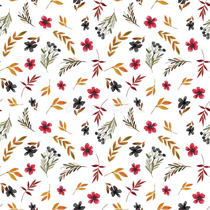 Estampado de plores del campo con las flores y las hojas rojas ilustración del vector