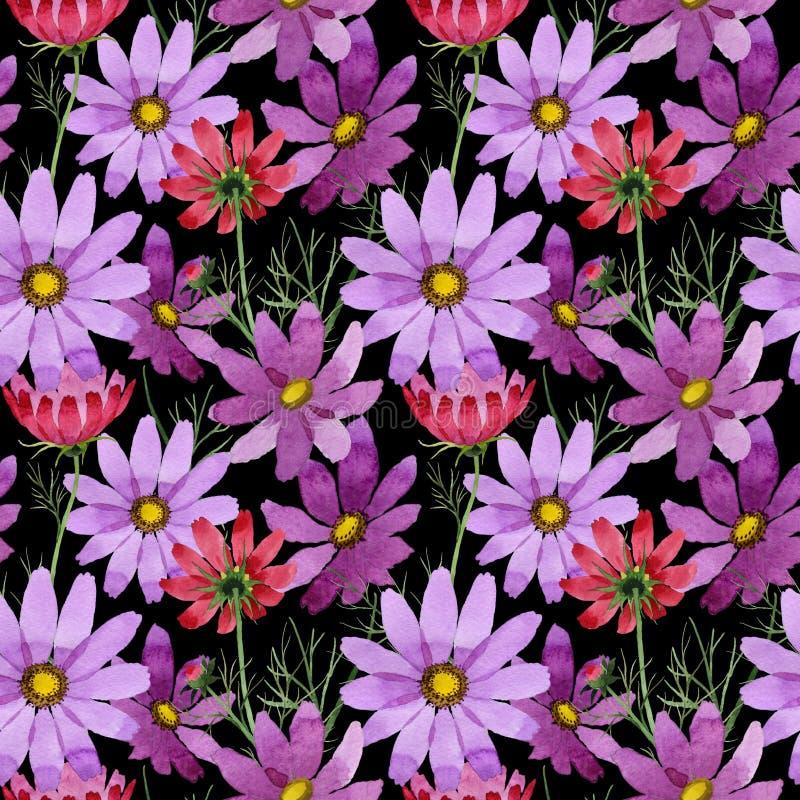 Download Estampado De Plores Del Kosmeya Del Wildflower En Un Estilo De La Acuarela Stock de ilustración - Ilustración de flor, gráfico: 100526605