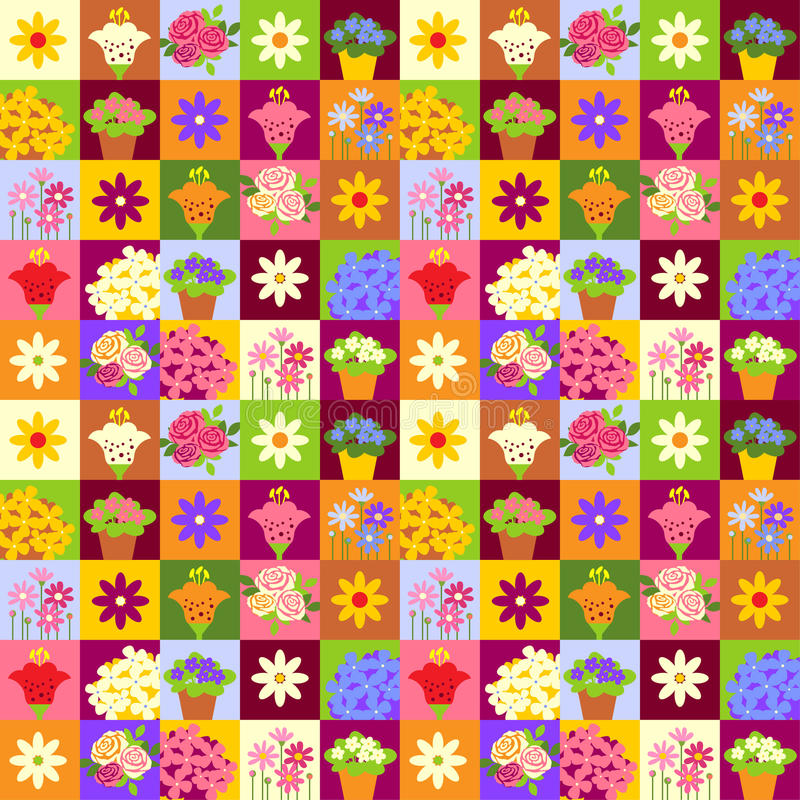 Estampado de plores del mosaico stock de ilustración