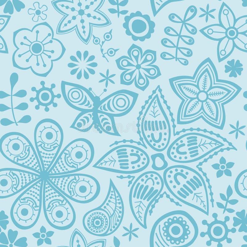 Estampado de plores del vector Textura botánica inconsútil blanco y negro stock de ilustración