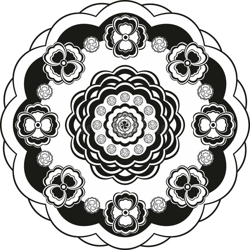 Estampado de plores en círculo blanco y negro stock de ilustración