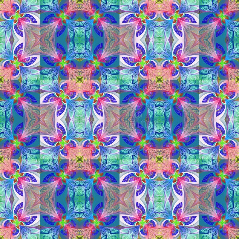 Estampado de plores inconsútil bicolor en estilo del vitral ilustración del vector