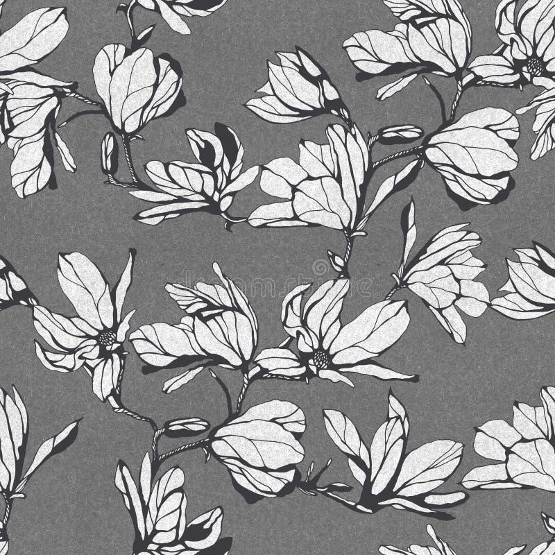 Estampado de plores inconsútil de la magnolia Ejemplo dibujado mano de la tinta S libre illustration