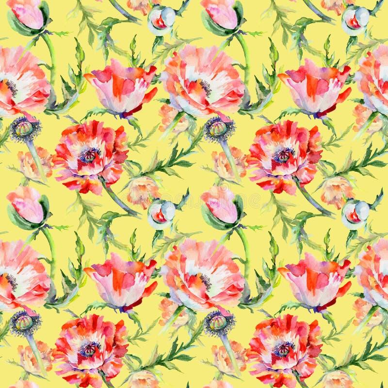 Download Estampado De Plores De La Amapola Del Wildflower En Un Estilo De La Acuarela Stock de ilustración - Ilustración de ornamento, flora: 100527006