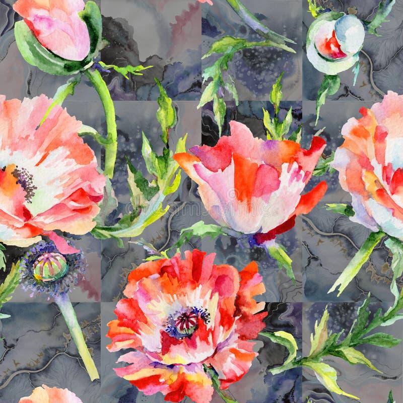 Download Estampado De Plores De La Amapola Del Wildflower En Un Estilo De La Acuarela Stock de ilustración - Ilustración de ornamento, colorido: 100527082
