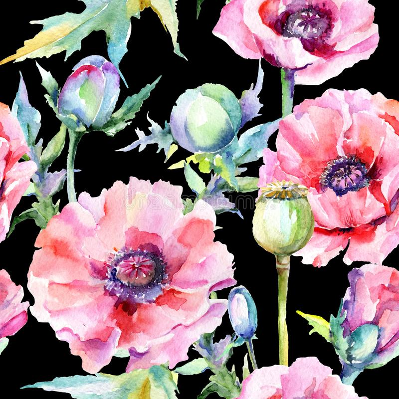 Download Estampado De Plores De La Amapola Del Wildflower En Un Estilo De La Acuarela Stock de ilustración - Ilustración de pétalo, flora: 100527172
