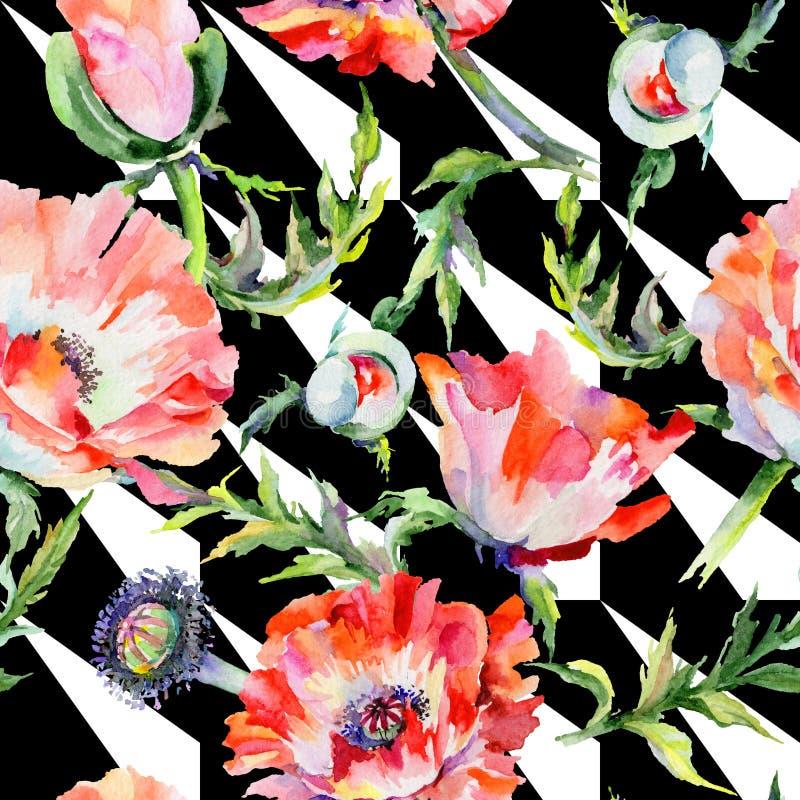 Download Estampado De Plores De La Amapola Del Wildflower En Un Estilo De La Acuarela Stock de ilustración - Ilustración de botánico, follaje: 100527280