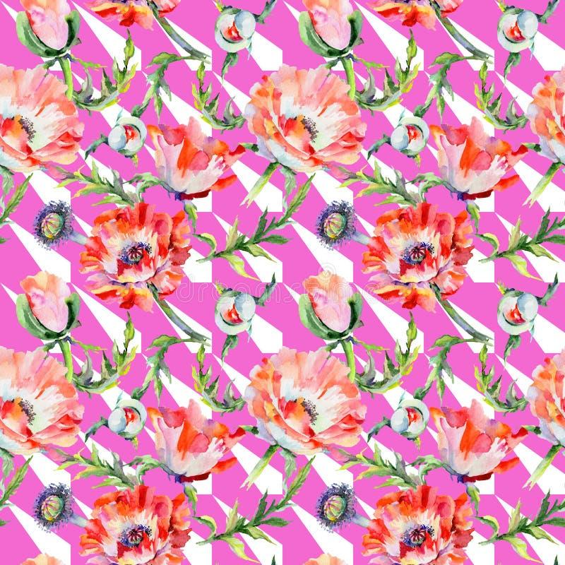 Download Estampado De Plores De La Amapola Del Wildflower En Un Estilo De La Acuarela Stock de ilustración - Ilustración de tela, travieso: 100527404