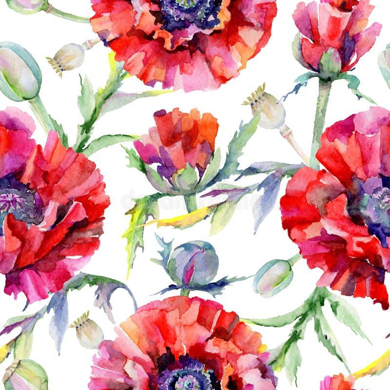 Download Estampado De Plores De La Amapola Del Wildflower En Un Estilo De La Acuarela Stock de ilustración - Ilustración de prado, gráfico: 100527458