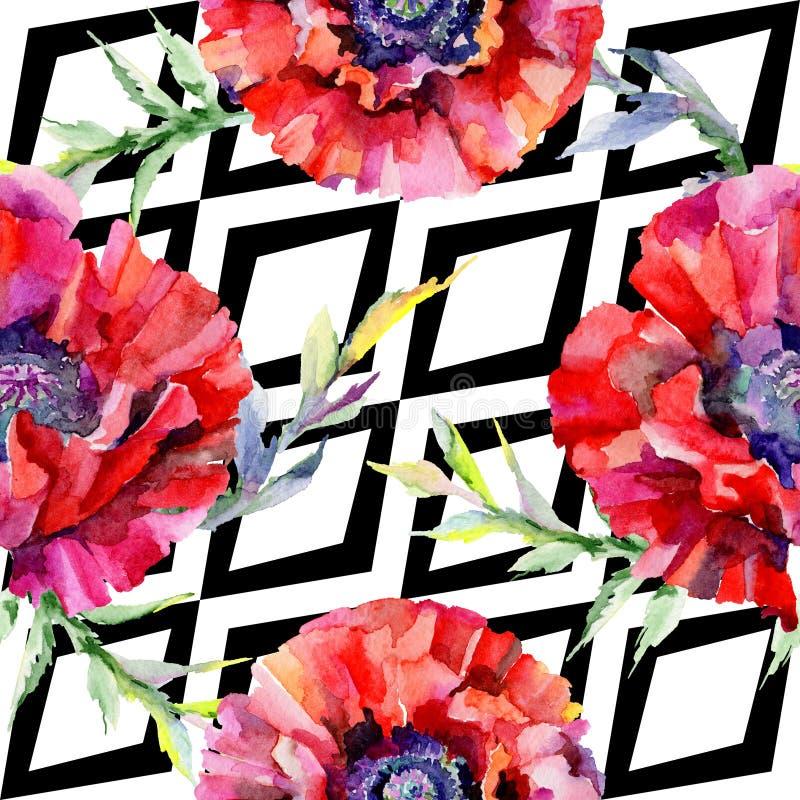 Download Estampado De Plores De La Amapola Del Wildflower En Un Estilo De La Acuarela Stock de ilustración - Ilustración de manera, aislado: 100527515