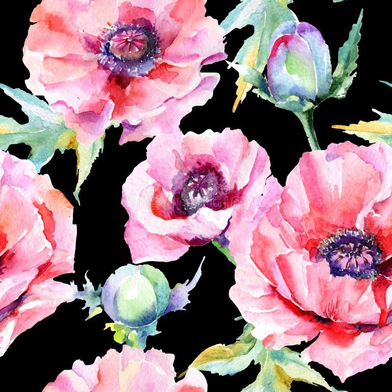 Download Estampado De Plores De La Amapola Del Wildflower En Un Estilo De La Acuarela Stock de ilustración - Ilustración de trazado, opio: 100527538