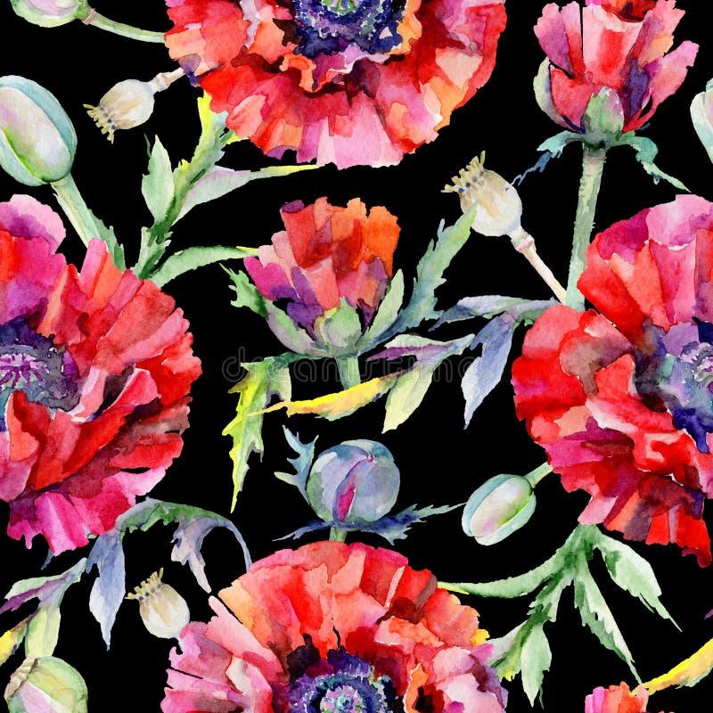 Download Estampado De Plores De La Amapola Del Wildflower En Un Estilo De La Acuarela Stock de ilustración - Ilustración de colorido, decoración: 100527563