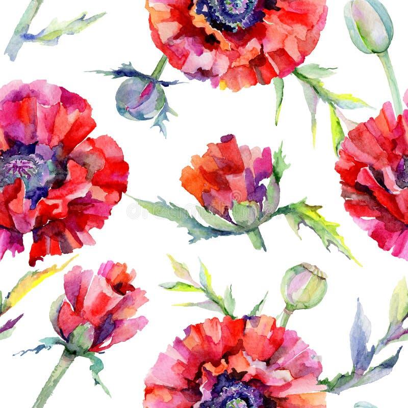 Download Estampado De Plores De La Amapola Del Wildflower En Un Estilo De La Acuarela Stock de ilustración - Ilustración de prado, fondo: 100527680
