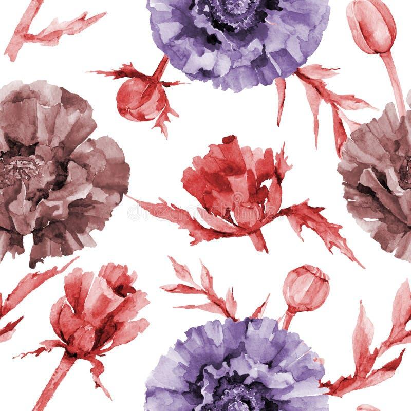 Download Estampado De Plores De La Amapola Del Wildflower En Un Estilo De La Acuarela Stock de ilustración - Ilustración de fondo, trazado: 100527695