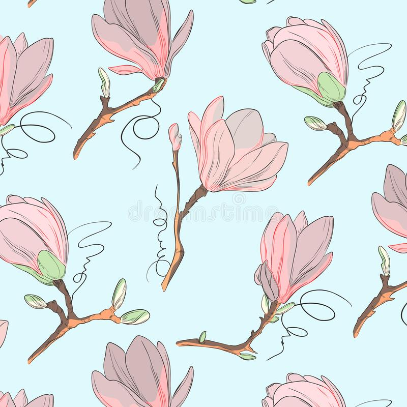 Estampado de plores de la magnolia Repita la textura botánica con las flores en rosa azul y en colores pastel en el fondo blanco  libre illustration