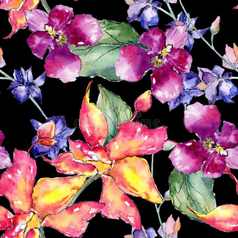 Estampado de plores de la orquídea del Wildflower en un estilo de la acuarela ilustración del vector