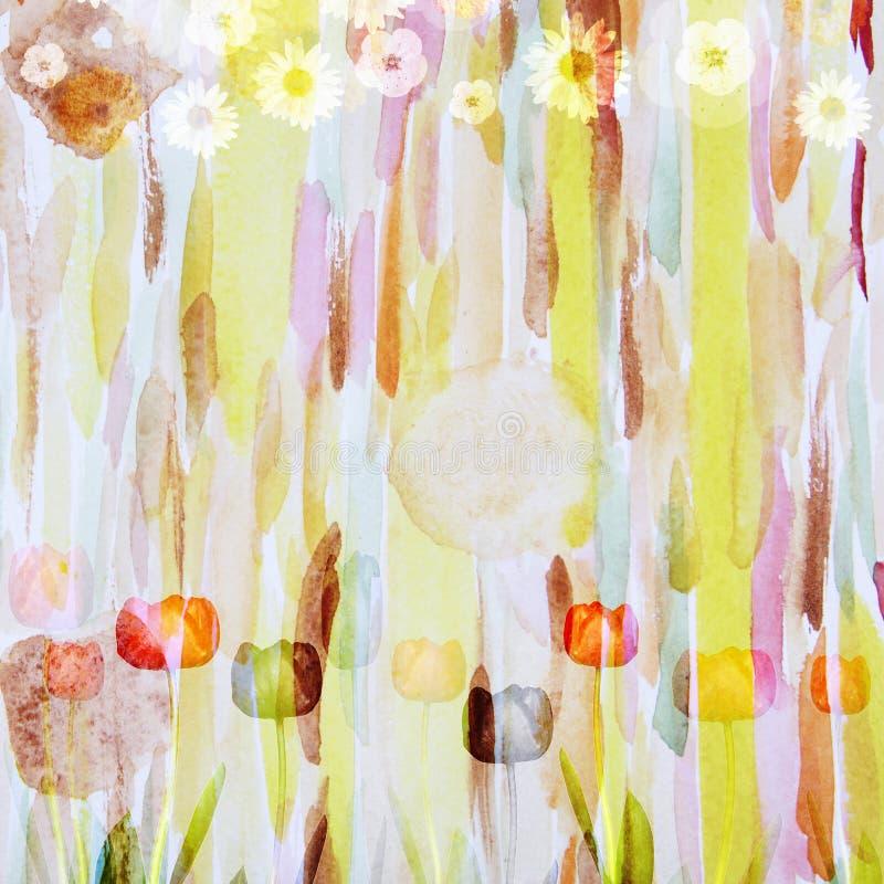 Estampado de plores pintoresco, composición de la acuarela stock de ilustración