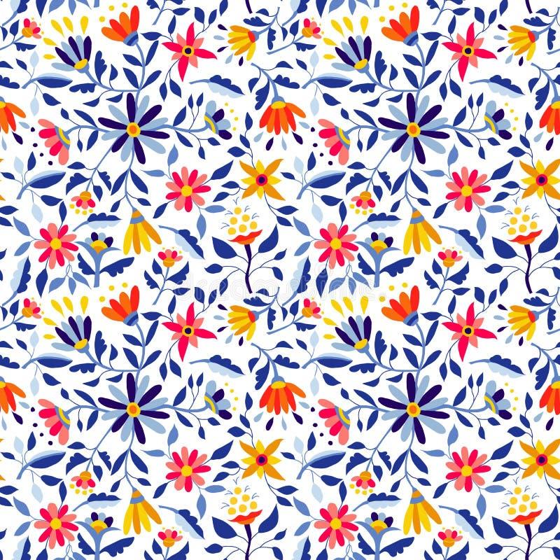 Estampado de plores retro en los colores vibrantes para la primavera libre illustration