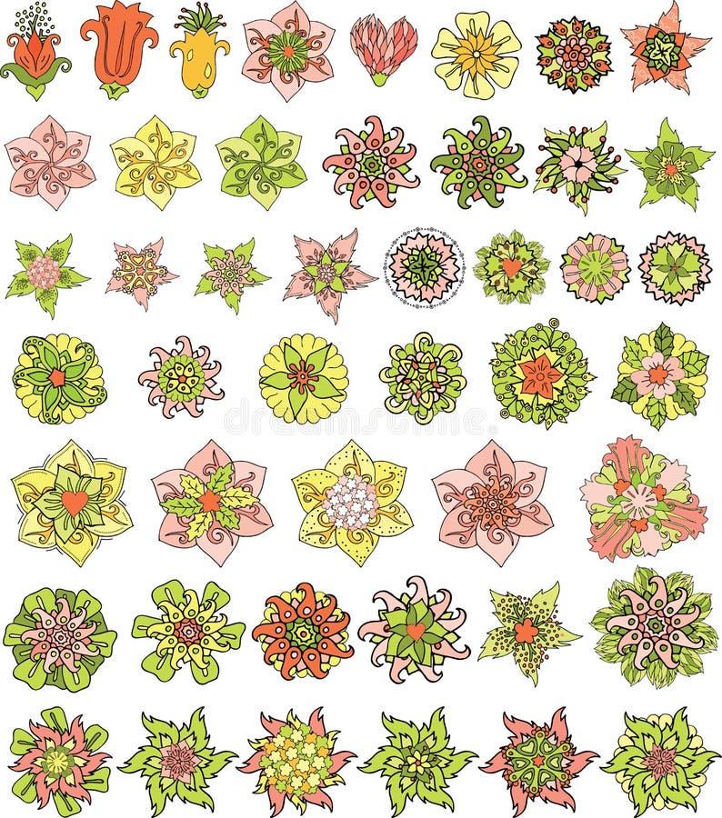 Estampados de flores agradables con las diversas flores estilizadas ilustración del vector