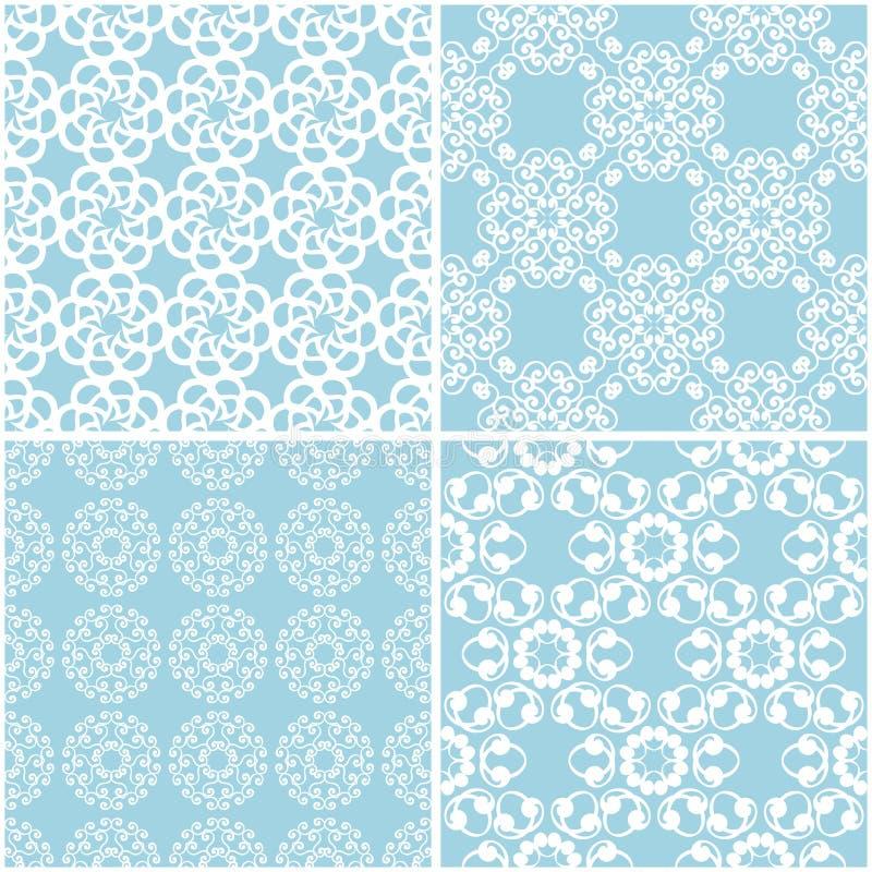 Estampados de flores Sistema de fondos inconsútiles azules y blancos stock de ilustración