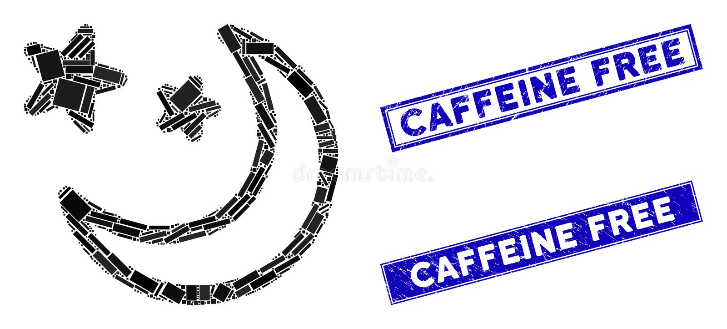 Estampilla gratuita de la cafeína Rectangle cielo claro stock de ilustración