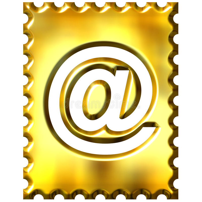 estampille 3d d'or avec le symbole d'email illustration stock