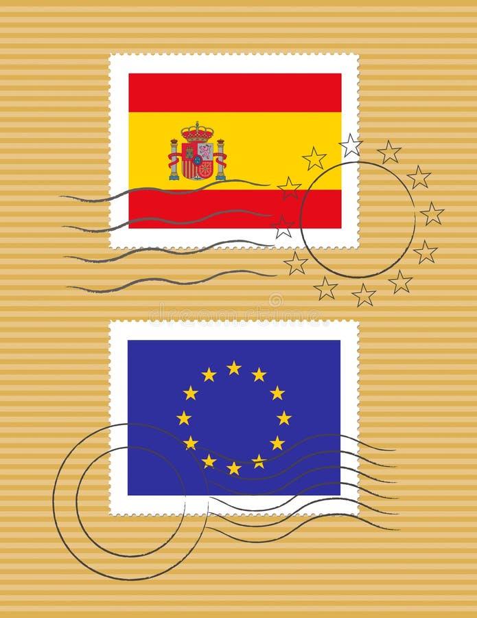 Estampille avec l'indicateur de l'Espagne illustration de vecteur