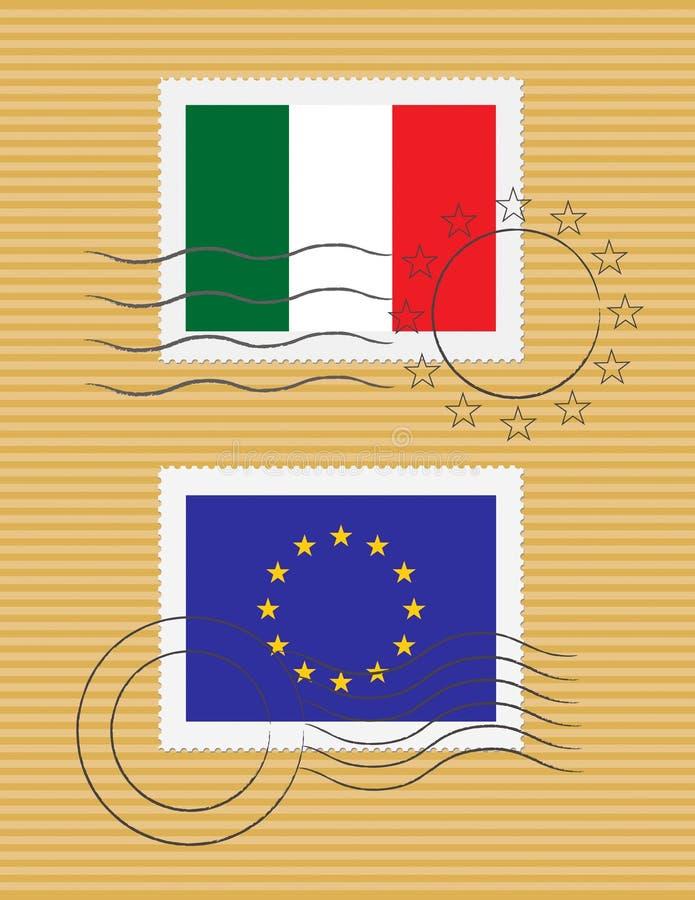 Estampille avec l'indicateur de l'Italie illustration libre de droits