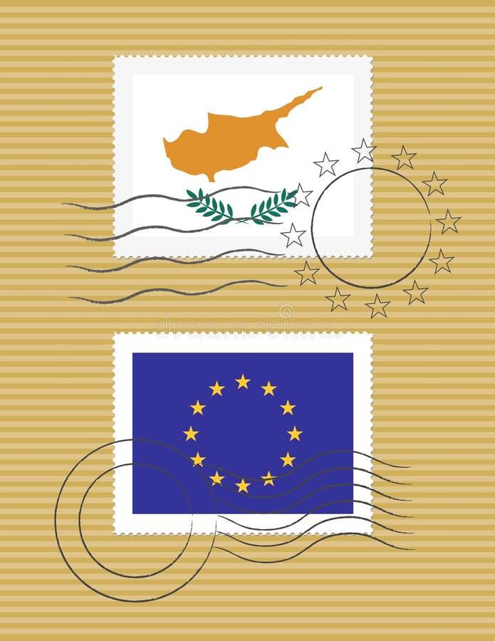 Estampille avec l'indicateur de la Chypre illustration libre de droits