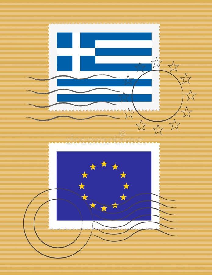 Estampille avec l'indicateur de la Grèce illustration stock