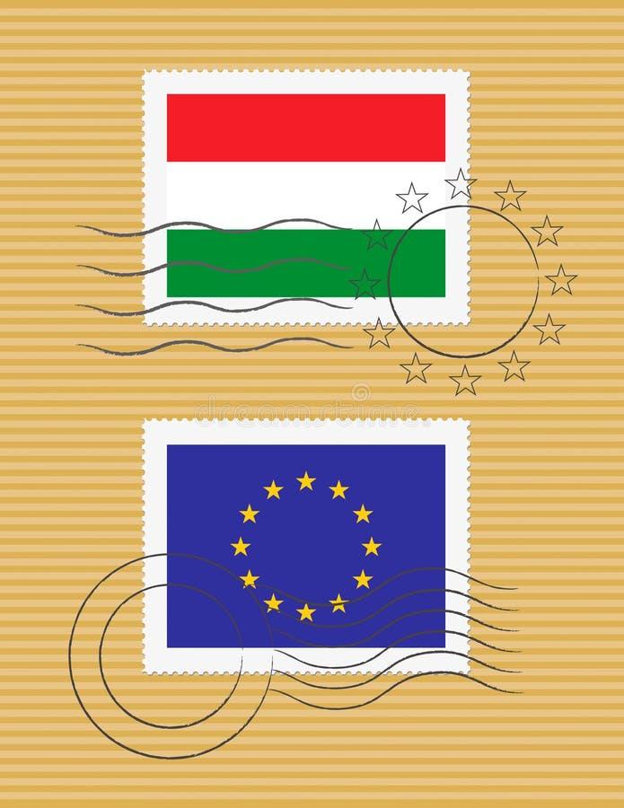 Estampille avec l'indicateur de la Hongrie illustration libre de droits