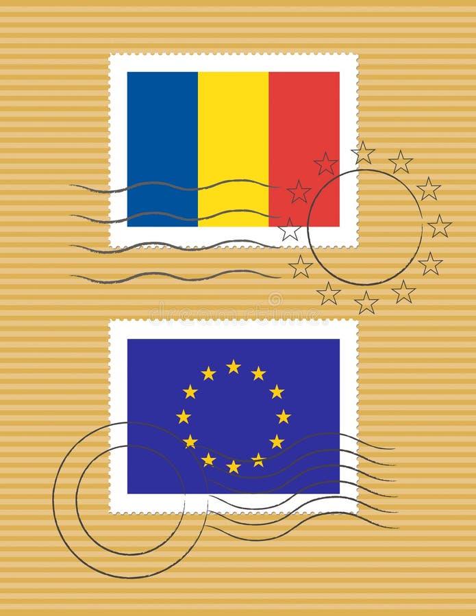 Estampille avec l'indicateur de la Roumanie illustration libre de droits