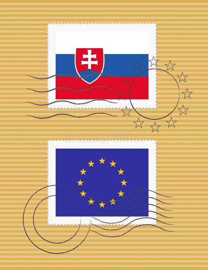 Estampille avec l'indicateur de la Slovaquie illustration libre de droits