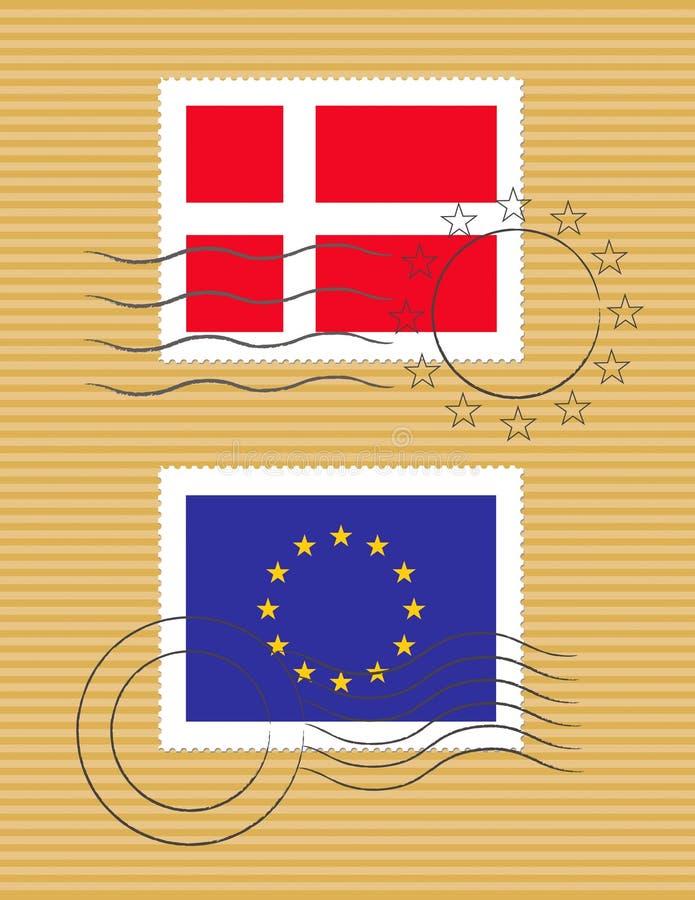 Estampille avec l'indicateur du Danemark illustration libre de droits