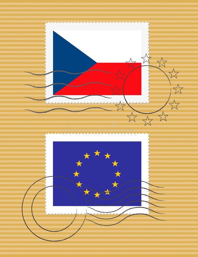 Estampille avec la République Tchèque d'indicateur illustration stock
